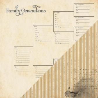 Heritage Double-Sided Cardstock - Generations Chart / Ticking