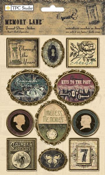 TPC Studio - Memory Lane - Framed Dome Stickers - Phrases & Icons