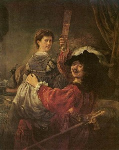 Rembrandt and Saskia in the parable of the Prodigal Son – oil on canvas – abt 1635