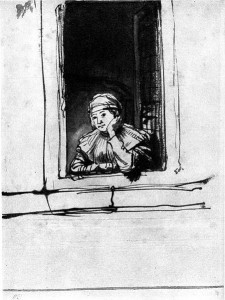 Saskia looking out of a window – Pen in brown, brown wash – 1634-1635