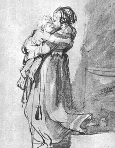 Saskia with a Child – pen and wash by Rembrandt – circa 1636