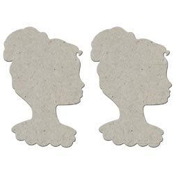 Fabscraps - Die-Cut Grey Chipboard - Cameo Lady
