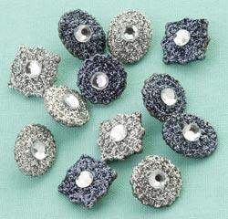 Making Memories - Glitter Deco Brads - Antique Silver Gems
