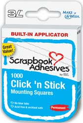 Scrapbook Adhesives - Click 'n Stick Permanent Mounting Squares / 1000