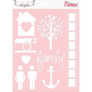 Basically Essential Stencils - Family, Diagonal Stripe, Alphabet