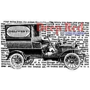 Deep Red - Cling Stamps - Vintage Delivery Truck