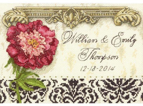 Gold Petite Elegant Wedding Record Counted Cross Stitch Kit