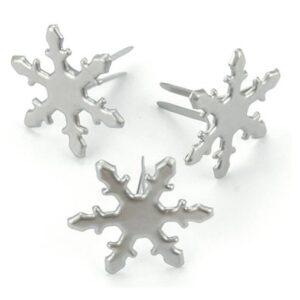 Metal Paper Fasteners - Snowflakes - Pewter
