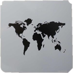 World Map Stencil 8x8