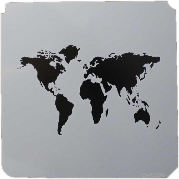 World Map Stencil 8x8