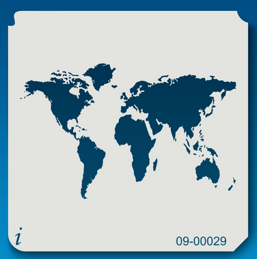 World Map Stencil 5x5