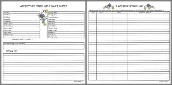 Ancestor Timeline & Data Sheet