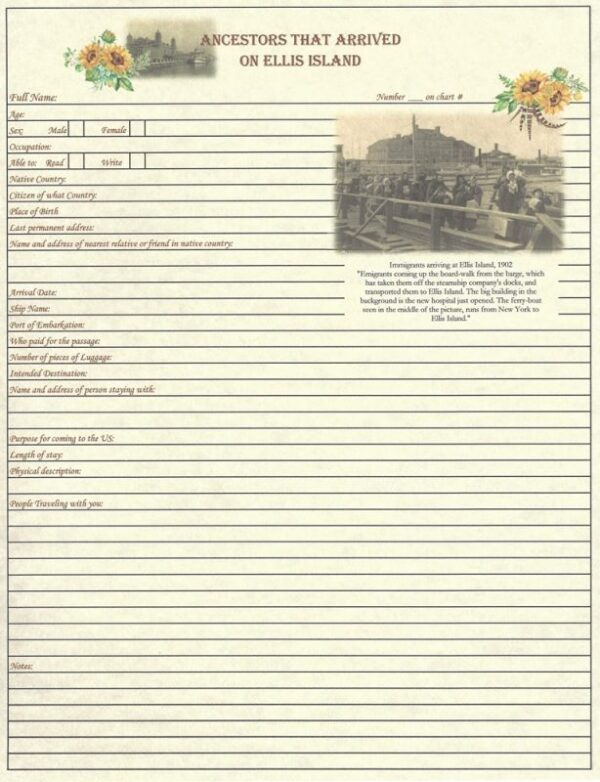 Family - Ancestors that Arrived on Ellis Island