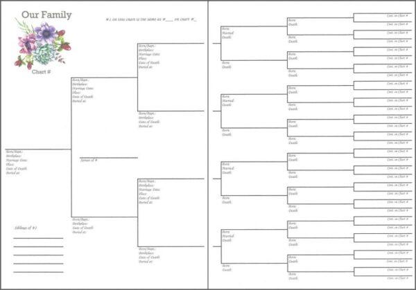 "Family - 6"" x 8"" - 6 Generations Pedigree Chart 2"