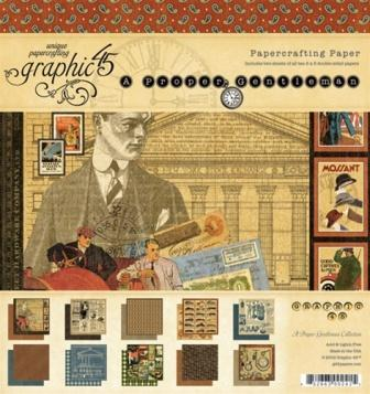 "Graphic 45 - A Proper Gentleman - 8"" x 8"" paper Pad"