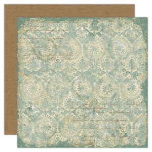 Ancestral Collection - Teal Brocade 12 x 12 Double-Sided Varnish Paper