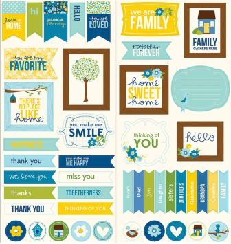 Family Ties - Cardstock Stickers - Titles, Banners & Quotes