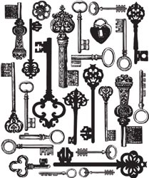 Antique Keys Background - Printery - Clear Stamp