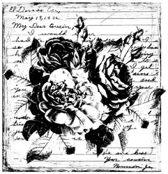 Unity Stamp - Tattered Roses - Itty Bitty Unmounted Rubber Stamp