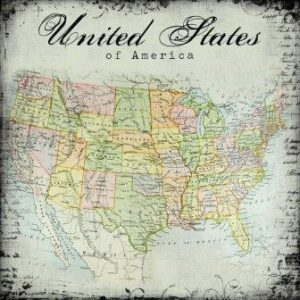 "Scrapbook Customs - United States Map - 12"" x 12"""
