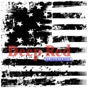 Deep Red - Cling Stamps - Grunge Stars & Stripes