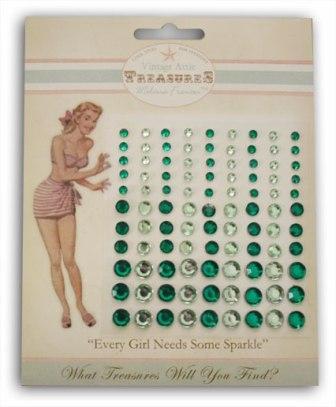 Melissa Frances - Attic Treasures - Green Rhinestones Embellishments