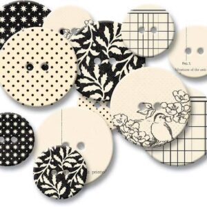 Chipboard Buttons - Black Line