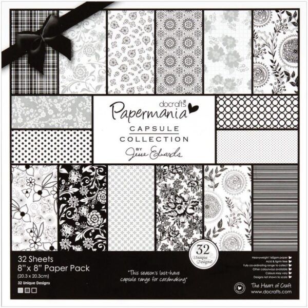 """Papermania - Bexley Black Paper Pack 8""""X8"""""""