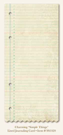 """So Sophie - Charming """"Simple Things """" - Lined Journaling Card"""