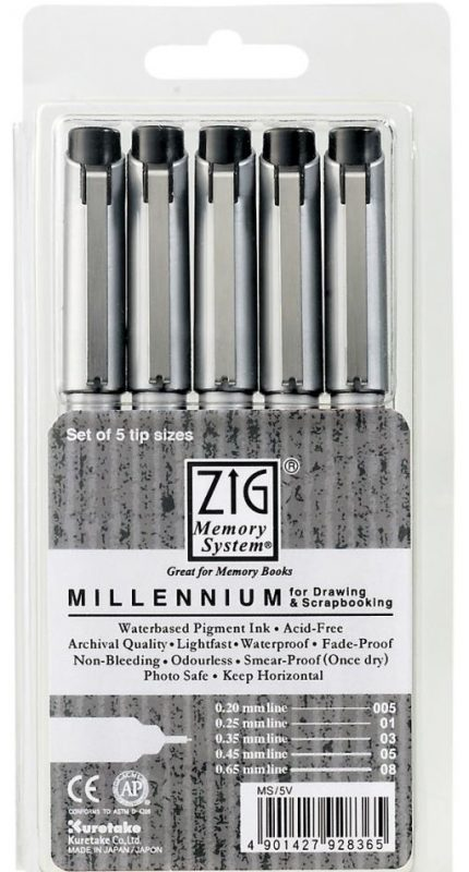 Zig Memory System Millennium Assorted Markers 5/Pkg