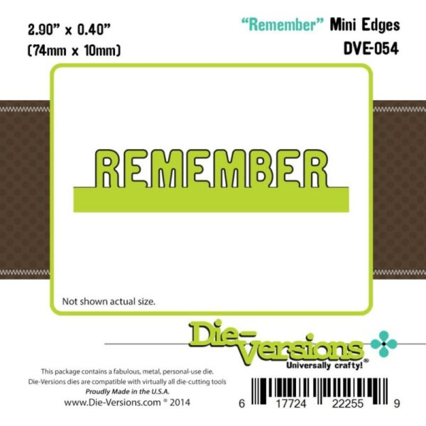 Die-Versions Express Edges Die - Mini Remember