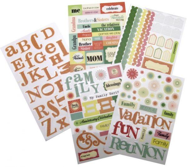 Glitter Stickers Flip Pack - Family