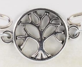 Simple Charm Accent - Antique Silver Tree Of Life Circle