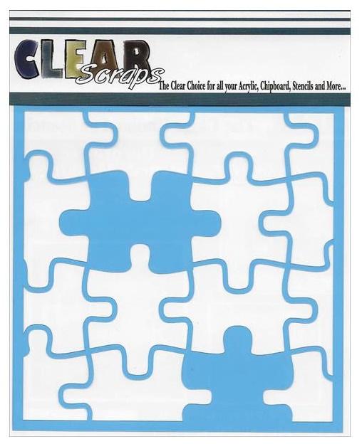 """Clear Scraps Stencils 6""""X6"""" - Puzzle"""