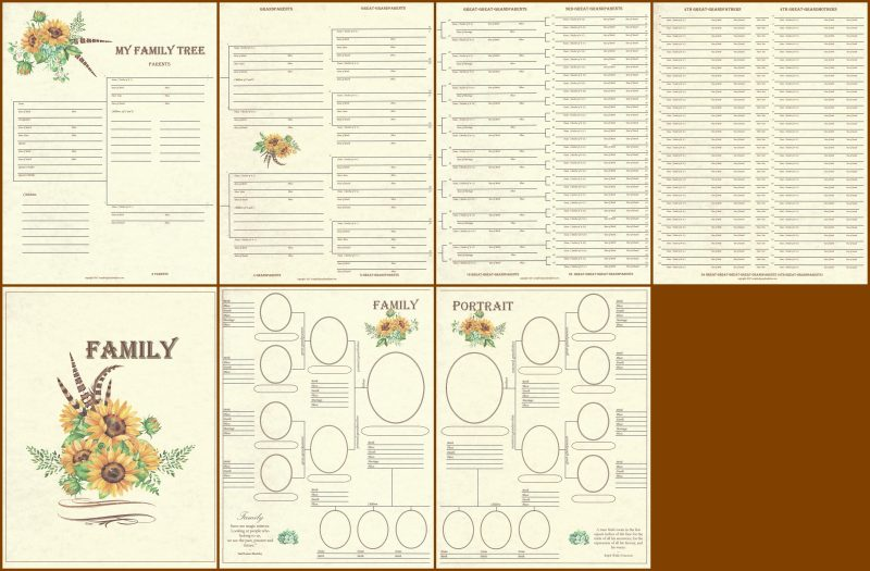 family 4 page panoramic genealogy chart layout scrapbook your