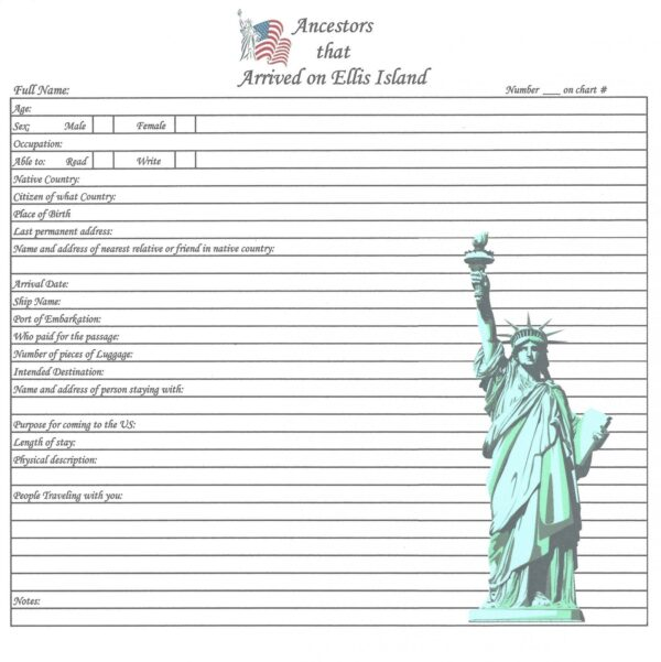 """Our Roots - Ellis Island - 8"""" x 8"""""""