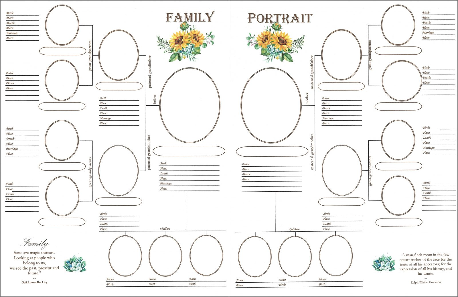 family downloadable family portrait scrapbook your family tree
