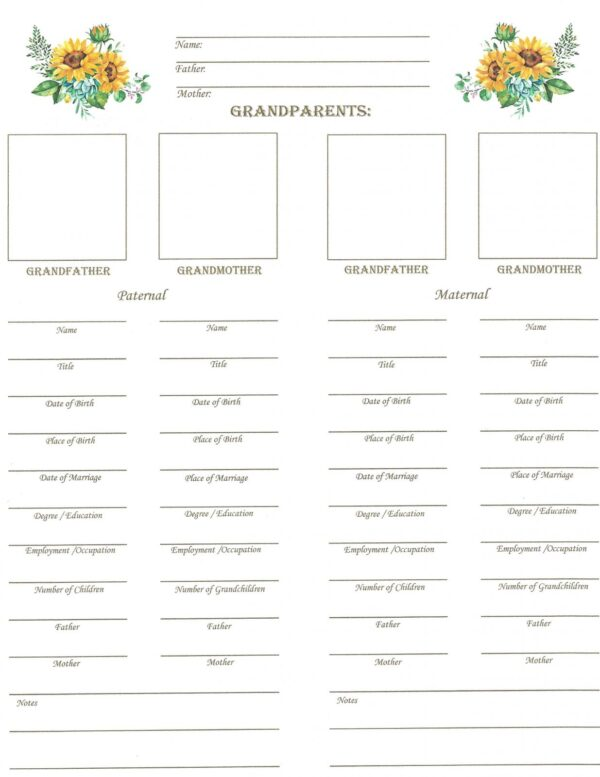 Family - Downloadable - Grandparent's Chart