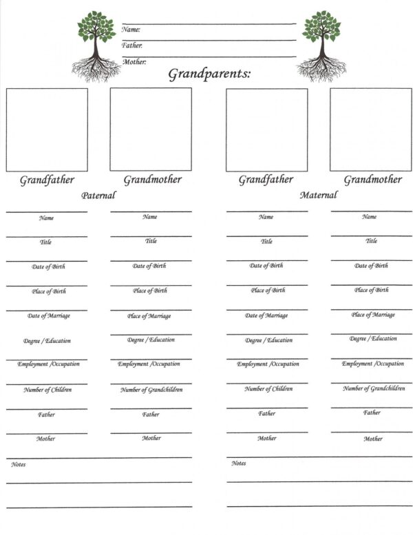 Our Roots - Downloadable - Grandparent's Chart