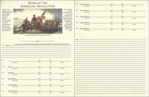Sons of the American Revolution Chart